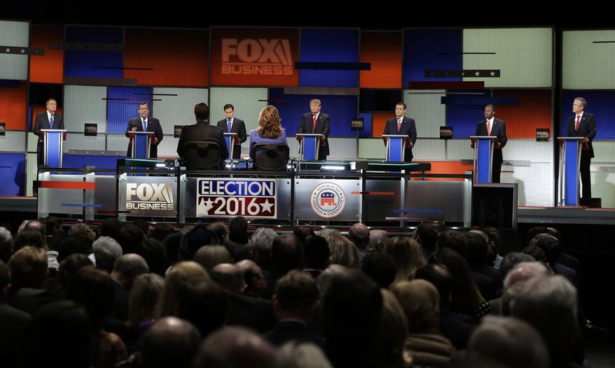 Republican presidential candidates, from left, Ohio Gov. John Kasich, New Jersey Gov. Chris Christie, Sen. Marco Rubio, R-Fla., businessman Donald Trump, Sen. Ted Cruz, R-Texas, retired neurosurgeon Ben Carson and former Florida Gov. Jeb Bush participate during the Fox Business Network Republican presidential debate at the North Charleston Coliseum, Thursday, Jan. 14, 2016, in North Charleston, S.C. (AP Photo/Chuck Burton) ** FILE **