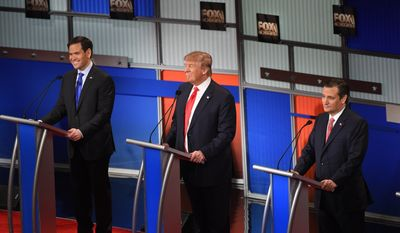 Republican presidential candidate, Sen. Marco Rubio, R-Fla., Republican presidential candidate, businessman Donald Trump  and Republican presidential candidate, Sen. Ted Cruz, R-Texas, from left, participate during the Fox Business Network Republican presidential debate at the North Charleston Coliseum, Thursday, Jan. 14, 2016, in North Charleston, S.C. (AP Photo/Rainier Ehrhardt) ** FILE **