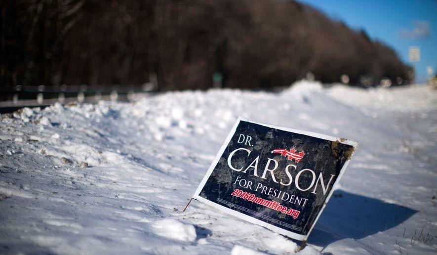A sign is posted in newly fallen snow for Republican presidential candidate Dr. Ben Carson, Wednesday, Jan. 13, 2016, along a roadside in Peterborough, N.H. (AP Photo/Matt Rourke)
