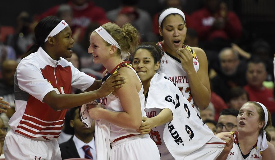 Maryland's Kristen Confroy, center, is congratulated by teammates after scoring eight 3-point baskets and tying the school record in an NCAA college basketball game against Northwestern, Sunday, Jan. 17, 2016, in College Park, Md. (AP Photo/Gail Burton)
