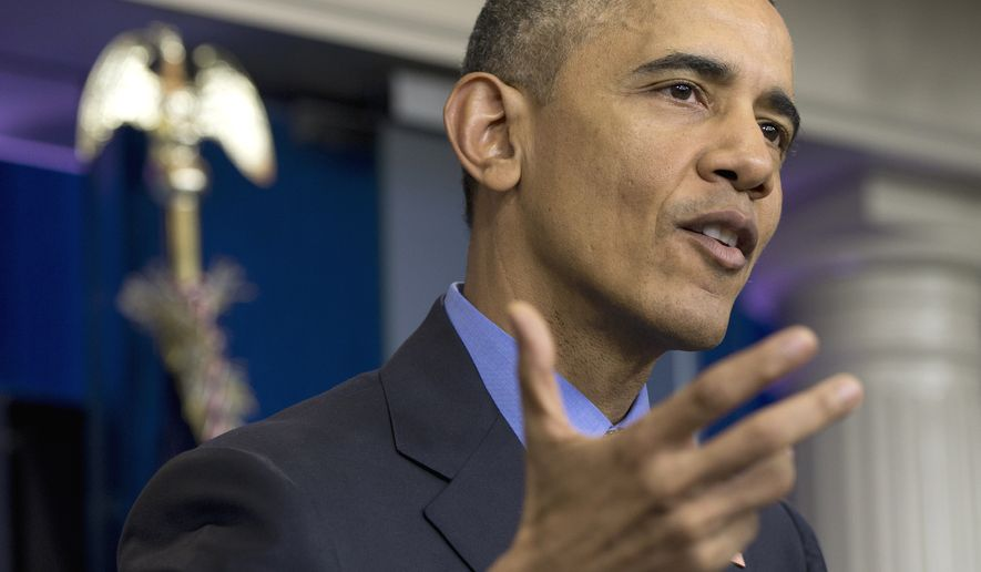 In this photo taken De. 18, 2015, President Barack Obama speaks during a news conference in the briefing room at the White House in Washington. On Saturday, Jan. 16, 2016, the president signed emergency declaration and ordered federal aid for Flint, Mich., authorizing the Federal Emergency Management Agency (FEMA) and the Homeland Security Department to coordinate relief efforts. (AP Photo/Carolyn Kaster)