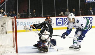 The puck sails into the back of the net after Vancouver Canucks right wing Radim Vrbata (17) of the Czech Republic shot the winning goal past New York Islanders goalie Jaroslav Halak (41) of the Czech Republic in a shootout in the Canucks 2-1 victory over the New York Islanders in an NHL hockey game in New York, Sunday, Jan. 17, 2016.  (AP Photo/Kathy Willens)