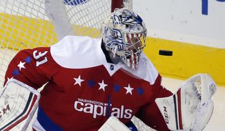 Washington Capitals goalie Philipp Grubauer (31), from Germany, watches the puck bounce off him in the third period of an NHL hockey game against the New York Rangers, Sunday, Jan. 17, 2016, in Washington. The Capitals won 5-2. (AP Photo/Alex Brandon)