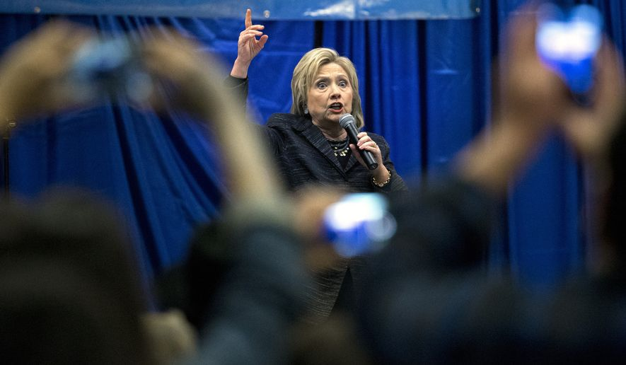 Democratic presidential candidate Hillary Clinton speak to a crowd at the Jim Clyburn Fish Fry, on Saturday, Jan. 16, 2016, at the Charleston Visitor Center in Charleston, S.C. (AP Photo/Stephen B. Morton)