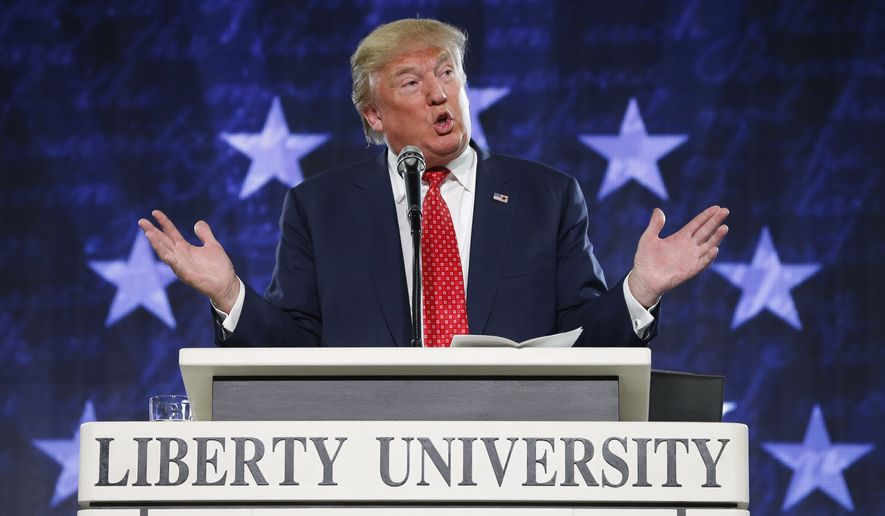 Republican Presidential candidate Donald Trump gestures during a speech at Liberty University in Lynchburg, Va., Monday, Jan. 18, 2016. (AP Photo/Steve Helber)