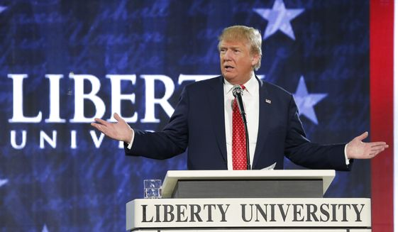 Republican Presidential candidate Donald Trump gestures during a speech at Liberty University in Lynchburg, Va., Monday, Jan. 18, 2016. (AP Photo/Steve Helber) ** FILE **