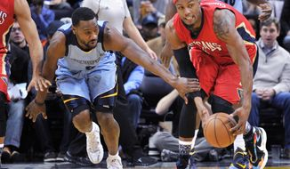 Memphis Grizzlies guard Tony Allen, left, defends New Orleans Pelicans forward Dante Cunningham, right, in the first half of an NBA basketball game, Monday, Jan. 18, 2016, in Memphis, Tenn. (AP Photo/Brandon Dill)