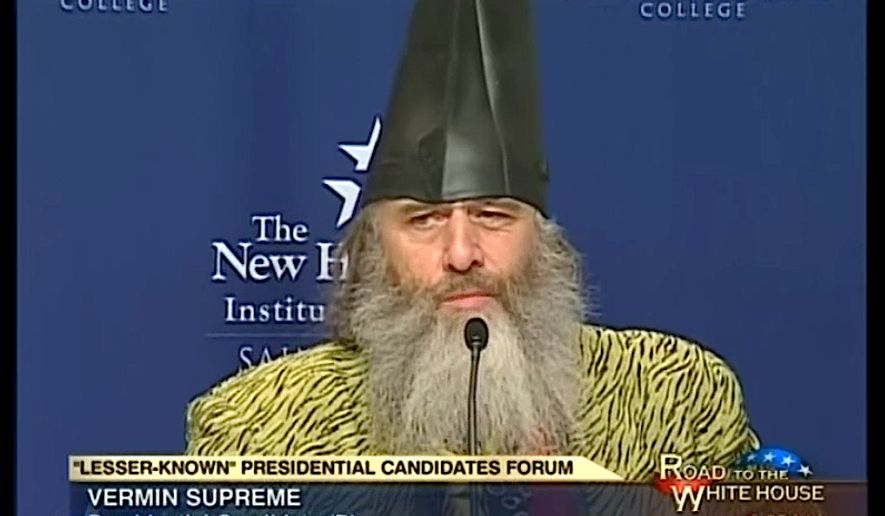 16a692c4027  Lesser-known  presidential hopeful Vermin Supreme is shown during a 2011  forum for other alternative candidates at the New Hampshire Institute of  Politics
