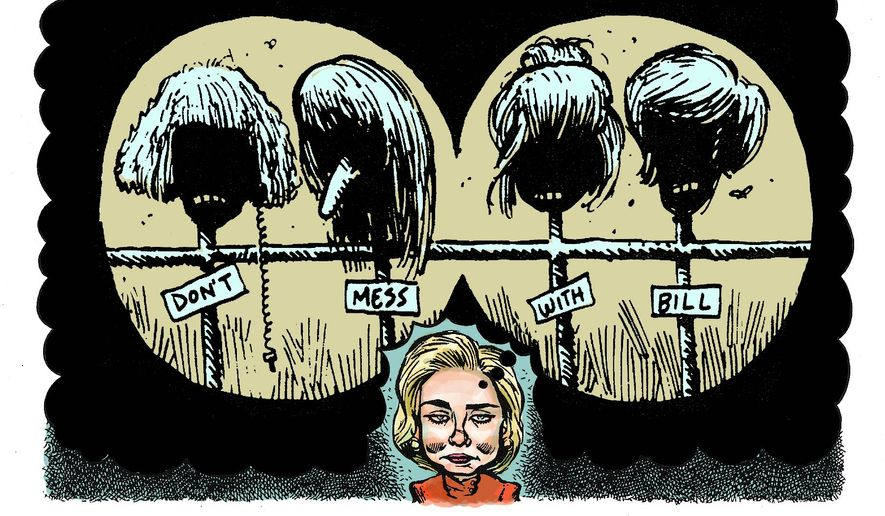 "Illustration on Hillary's past suppression of ""Bimbo eruptions"" against her husband by Alexander Hunter/The Washington Times"