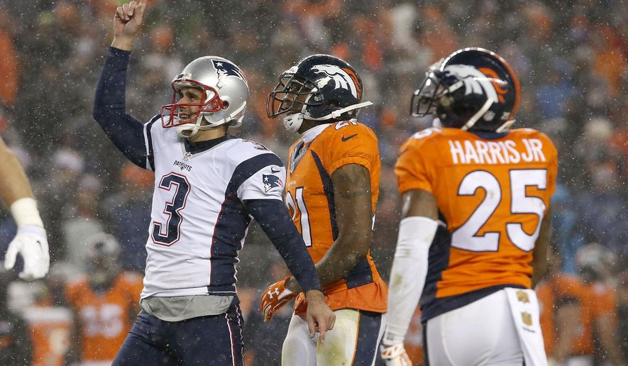 FILE - In this Nov. 29, 2015, file photo, New England Patriots kicker Stephen Gostkowski (3) celebrates his game-tying field goal during the second half of an NFL football game against the Denver Broncos, in Denver. Denver and New England will play in the AFC Championship game Sunday, Jan. 24, 2016, in Denver. (AP Photo/Joe Mahoney, File)
