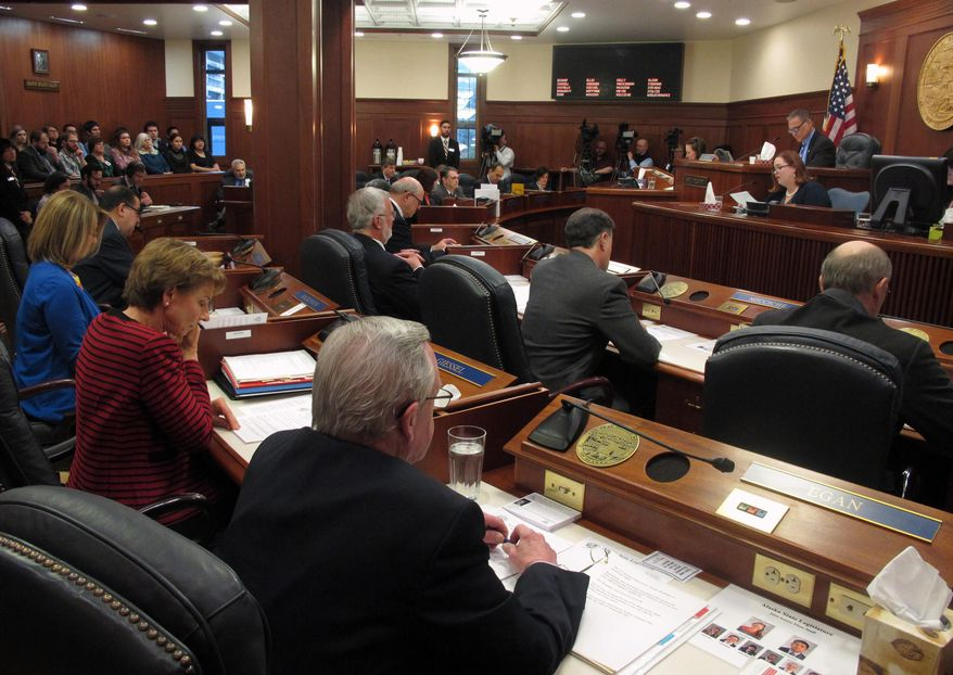 The Alaska Senate meets on the first day of the new legislative session on Tuesday, Jan. 19, 2016, in Juneau, Alaska. (AP Photo/Becky Bohrer)