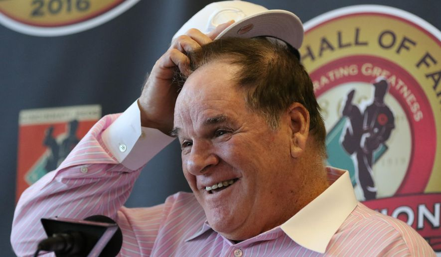Former Cincinnati Reds player and manager Pete Rose laughs during a press conference where it was announced that he will be inducted into the Reds Hall of  Fame, Tuesday, Jan. 19, 2016, in Cincinnati. The induction will take place the weekend of June 24-26, 2016. (AP Photo/Gary Landers)