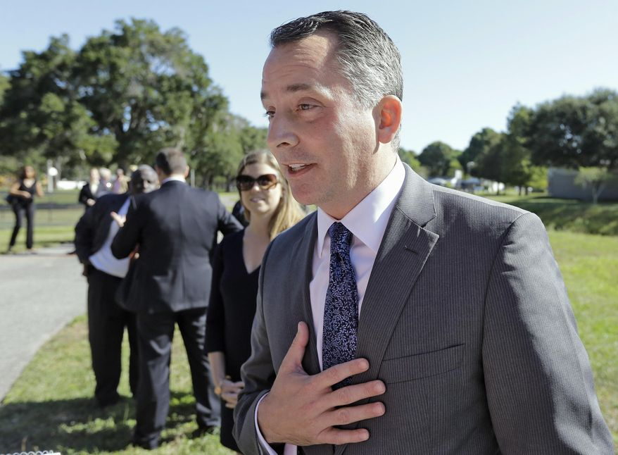 In this Oct. 20, 2015, file photo, Rep. David Jolly, R-Fla. speaks to reporters in St. Petersburg, Fla. (AP Photo/Chris O'Meara) ** FILE **
