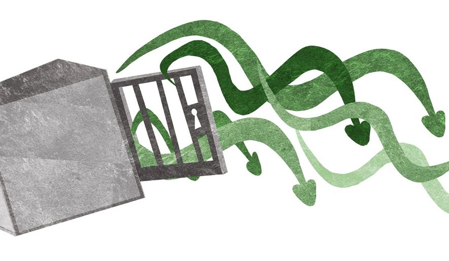 Illustration on emptying Guantanamo Bay prison by Alexander Hunter/The Washington Times