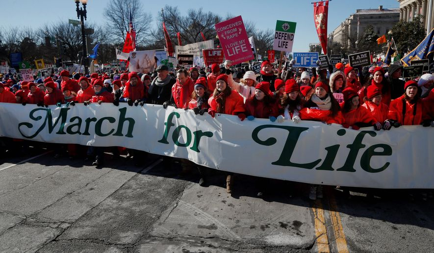 Anti-abortion demonstrators march up Constitution Avenue toward the Supreme Court in Washington, Wednesday, Jan. 22, 2014, during the annual March for Life. (AP Photo/Charles Dharapak) ** FILE **