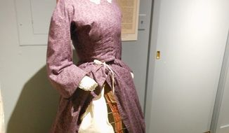 """A """"spy dress,"""" with secret messages attached to a hoop beneath, enabled a lady to be a fashionable patriot. (Corinna Lothar/Special to The Washington Times)"""