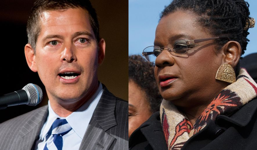 This combination of file photos shows Rep. Sean Duffy, R-Wis., at the Latino Coalition Business Summit in Washington on Wednesday, June 10, 2015; and Rep. Gwen Moore, D-Wis., with other members of the Congressional Black Caucus on Capitol Hill in Washington on Thursday, Feb. 6, 2014. Abortion and race, two of America's most volatile topics, have intersected in recent flare-ups related to the disproportionately high rate of abortion among black women. In Congress, Duffy lambasted black members of Congress for failing to decry these high abortion numbers. The next day, Moore fired back - accusing Duffy and his GOP colleagues of caring about black children only before they are born. (AP Photo/Andrew Harnik, J. Scott Applewhite, File)