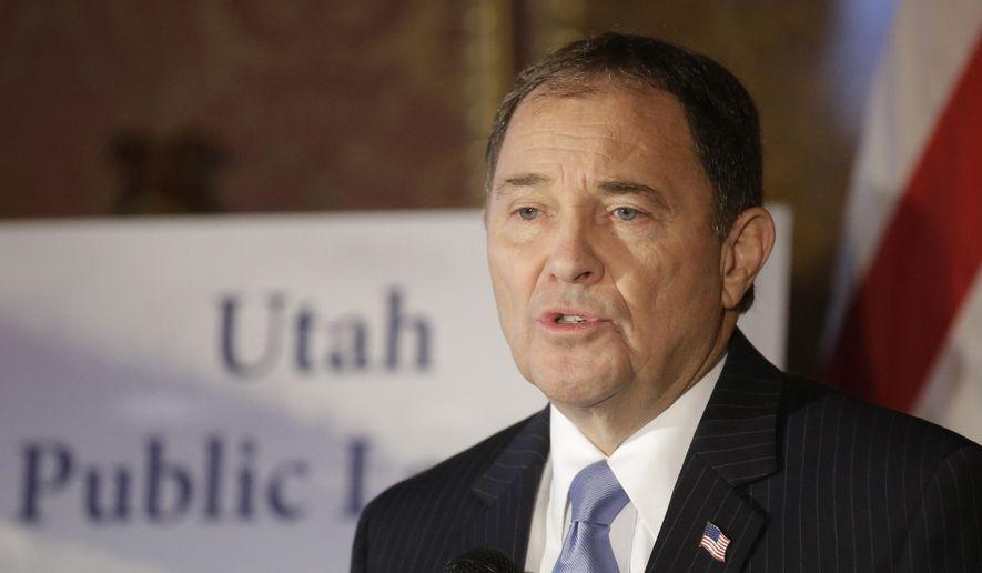 Utah Gov. Gary Herbert speaks during a press conference Wednesday, Jan. 20, 2016, at the Utah State Capitol, in Salt Lake City. (AP Photo/Rick Bowmer) ** FILE **