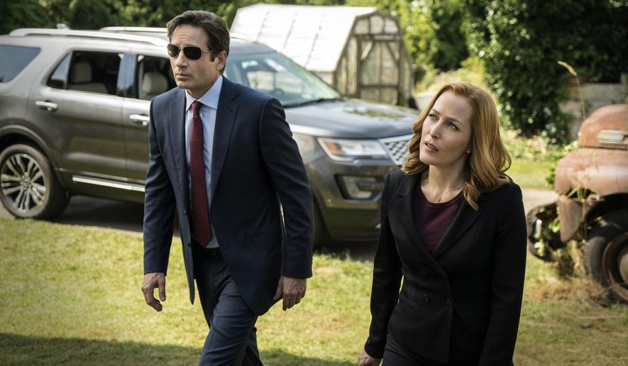"""This photo provided by FOX shows, David Duchovny, left, as Fox Mulder and Gillian Anderson as Dana Scully in the """"Founder's Mutation"""" season premiere, part two, episode of """"The X-Files,"""" airing Monday, Jan. 25, 2016, 8:00-9:00 PM ET/PT on FOX. (Ed Araquel/FOX via AP)"""