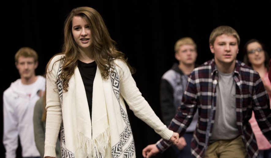 ADVANCE FOR SATURDAY, JAN. 23, 2016 AND THEREAFTER - In this photo taken on Friday, Jan. 15, 2016, Canyon Ridge High School student Ashlynn Hall, one of two Idaho students selected for the U.S. Senate Youth Program, practices with Canyon Ridge's show choir in Twin Falls, Idaho. (Stephen Reiss /The Times-News via AP) MANDATORY CREDIT