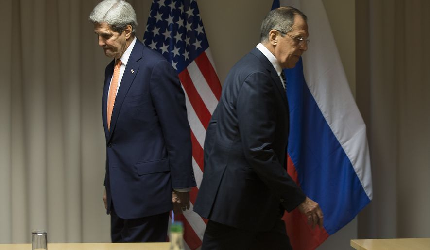 U.S. Secretary of State John Kerry, left, and Russian Foreign Minister Sergey Lavrov walk to their seats for a meeting about Syria, in Zurich, Switzerland, on Wednesday, Jan. 20, 2016, before Kerry was to attend the World Economic Forum in Davos. Kerry's trip is expected to last nine days and to encompass stops in Switzerland, Saudi Arabia, Laos, Cambodia, and China. (AP Photo/Jacquelyn Martin, Pool)
