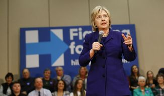 Democratic presidential candidate Hillary Clinton speaks during a campaign event in Burlington, Iowa, Wednesday, Jan. 20, 2016. (AP Photo/Patrick Semansky)