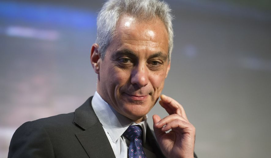 "Chicago Mayor Rahm Emanuel participates in a panel discussion titled ""Reducing Violence and Strengthening Police/Community Trust,"" Wednesday, Jan. 20, 2016, during the U..S. Conference of Mayors Winter Meeting in Washington. (AP Photo/Cliff Owen) ** FILE **"