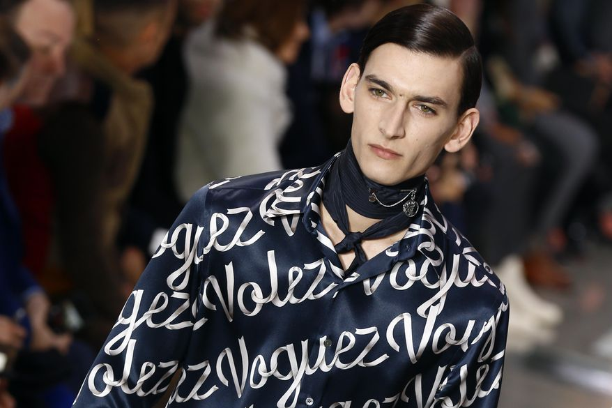 A model wears a creation by British fashion designer Kim Jones for Louis Vuitton men's Fall-Winter 2016/2017 fashion collection presented in Paris, France, Thursday, Jan. 21, 2016. (AP Photo/Francois Mori)