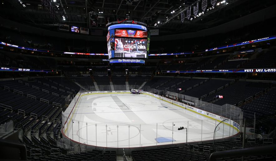 A zamboni prepares the ice in and empty Verizon Center before an NHL hockey game between the Washington Capitals and the Buffalo Sabres, Wednesday, Dec. 30, 2015, in Washington. The Capitals won 5-2. (AP Photo/Carolyn Kaster)