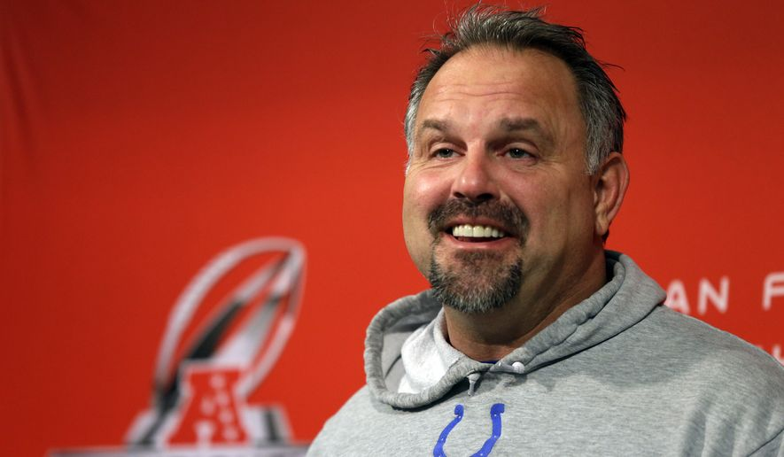 Indianapolis Colts defensive coordinator Greg Manusky answers a question during a press conference at the NFL football team's practice facility in Indianapolis, Thursday, Jan. 15, 2015. The Colts face the New England Patriots in Sunday's AFC Championship. (AP Photo/Michael Conroy)