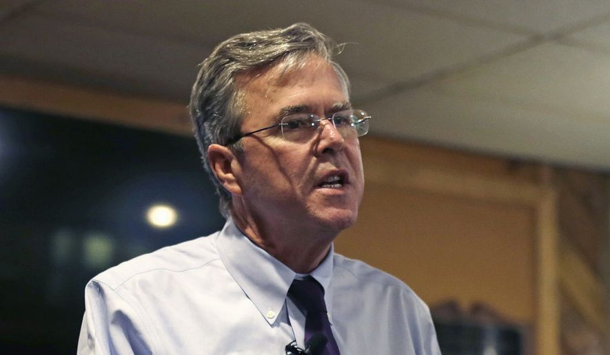 Republican presidential candidate, former Florida Gov. Jeb Bush speaks during a campaign stop at an American Legion post in Manchester, N.H., Wednesday, Jan. 20, 2016. (AP Photo/Charles Krupa)