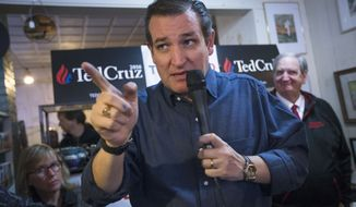 In this Jan. 19, 2016, photo, Republican presidential candidate, Sen. Ted Cruz, R-Texas speaks during a campaign stop at the Freedom Country Store in Freedom, N.H. Answering a question this week about climate change during a campaign stop in New Hampshire, Cruz was worlds apart from the scientific consensus that sees a world that is warming because of human activity. (AP Photo/John Minchillo)
