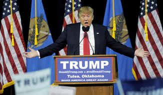 Republican presidential candidate Donald Trump speaks at a rally in Tulsa, Okla., Wednesday, Jan 20, 2016. (AP Photo/Brandi Simons)