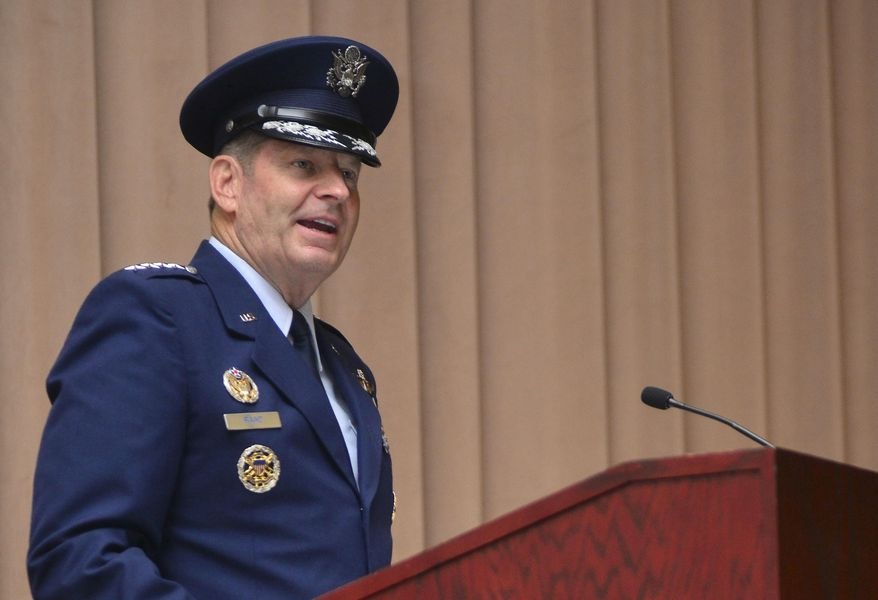In this July 28, 2015, image provided by the U.S. Air Force, Gen. Robin Rand speaks after taking command of Air Force Global Strike Command during a ceremony at Barksdale Air Force Base, La. (Mozer O. Da Cunha/U.S. Air Force via AP)