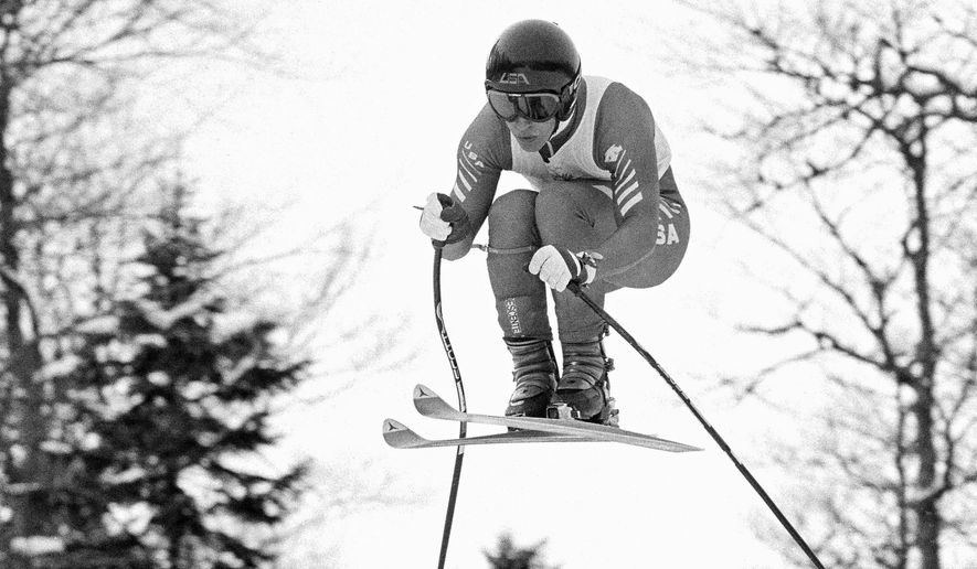 FILE - This Feb. 6, 1984, file photo shows American Olympic downhill skier Bill Johnson during the third training run for the Winter Olympic alpine skiing events, near Sarajevo, Bosnia-Herzegovina. The U.S. ski team says the former Olympic downhill champion has died after a long illness. He was 55. Megan Harrod, a spokeswoman for the U.S. Alpine team, says Johnson died Thursday, Jan. 21, 2016  at an assisted living facility in Gresham, Ore. (AP Photo/Michel Lipchitz, File)