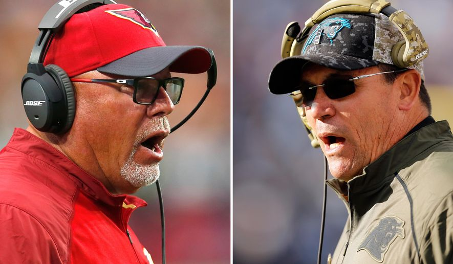 FILE - These are 2015 file photos showing Arizona Cardinals head coach Bruce Arians, left, and Carolina Panthers head coach Ron Rivera, right. Carolina and Arizona will meet in the NFC Championship game on Sunday, Jan. 24, 2016, in Charlotte, N.C. (AP Photo/File) Carolina and