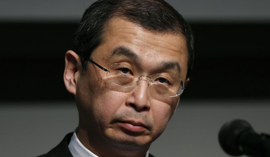 FILE - In this June 25, 2015, file photo, Japanese air bag maker Takata Corp. CEO Shigehisa Takada listens to a reporter's question during a news conference in Tokyo. Government officials say a Ford pickup driver killed in December 2015 in South Carolina is the 9th person to die in the U.S. and the 10th worldwide caused by defective Takata air bag inflators that explode, firing off shrapnel-like shards. (AP Photo/Shuji Kajiyama)