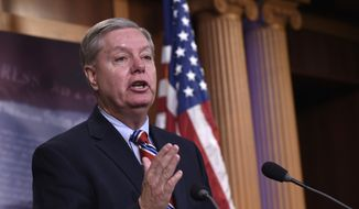Sen. Lindsey Graham, South Carolina Republican and former 2016 presidential candidate, answers questions about his opinions of the remaining candidates during a news conference on Capitol Hill in Washington on Jan. 21, 2016. (Associated Press) **FILE**