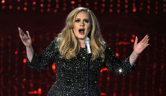 """In this Feb. 24, 2013 file photo, singer Adele performs during the Oscars at the Dolby Theatre in Los Angeles. Adele has outpaced Psy on the race to 1 billion views on YouTube. The streaming service announced on Thursday, Jan. 21, 2016, that the music video for """"Hello"""" greeted its 1 billionth view in 87 days, breaking the 158-day record previously held by Psy's """"Gangnam Style.""""  (Photo by Chris Pizzello/Invision/AP, File)"""