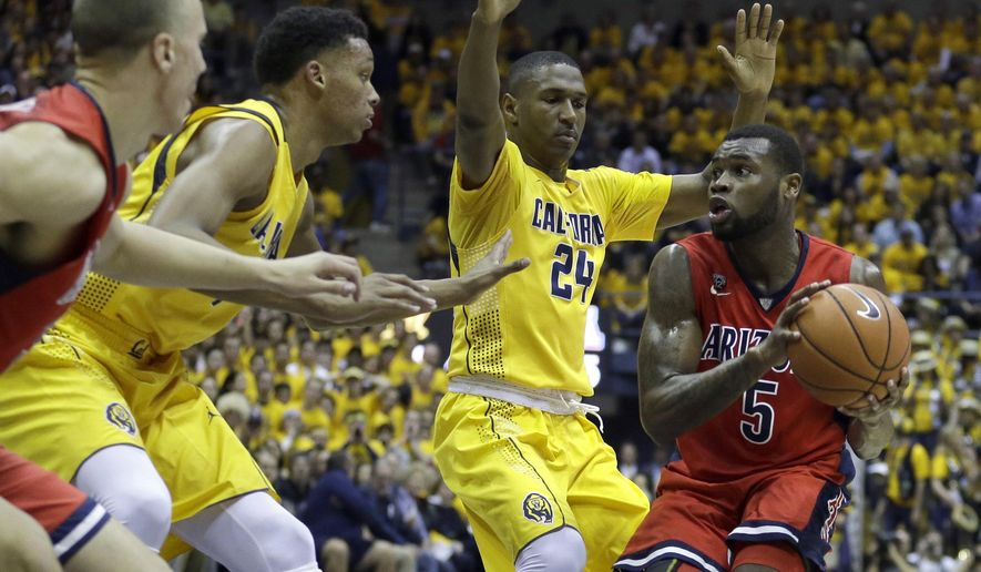 Arizona's Kadeem Allen, right, looks to pass away from California's Jordan Mathews (24) in the first half of an NCAA college basketball game Saturday, Jan. 23, 2016, in Berkeley, Calif. (AP Photo/Ben Margot)