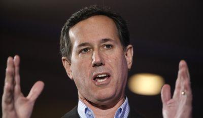 Republican presidential candidate, former Pennsylvania Sen. Rick Santorum speaks Saturday, Jan. 23, 2016, at the New Hampshire Republican Party summit in Nashua, N.H. (AP Photo/Matt Rourke) ** FILE **