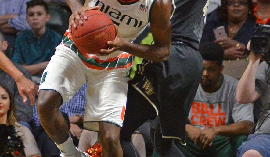 Miami's Davon Reed, left, makes a move against Wake Forest's Cornelius Hudson during the first half of an NCAA college basketball game in Coral Gables, Fla., Saturday, Jan. 23, 2016. (AP Photo/Gaston De Cardenas)