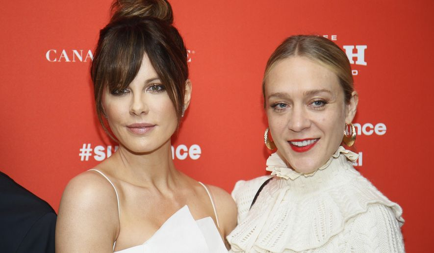 "Actresses Kate Beckinsale, left, and Chloe Sevigny pose at the premiere of ""Love & Friendship"" during the Sundance Film Festival on Saturday, Jan. 23, 2016, in Park City, Utah. (Photo by Danny Moloshok/Invision/AP)"