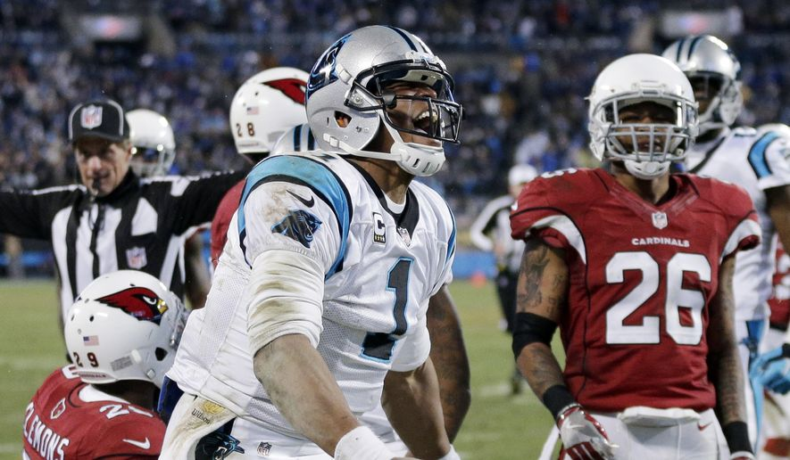 Carolina Panthers' Cam Newton celebrates a first down run during the second half the NFL football NFC Championship game against the Arizona Cardinals, Sunday, Jan. 24, 2016, in Charlotte, N.C. (AP Photo/Chuck Burton)