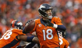 Denver Broncos quarterback Peyton Manning reaches back to pass during the second half of the NFL football AFC Championship game between the Denver Broncos and the New England Patriots, Sunday, Jan. 24, 2016, in Denver. (AP Photo/David Zalubowski)