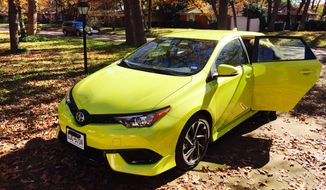 On the 2016 Scion iM Hatchback, the standard features include 17-inch alloy wheels, LED running lights, automatic headlights, power-folding heated mirrors, all power accessories, keyless ignition and entry, dual-zone automatic climate, tilt-and-telescoping, leather-wrapped steering wheel, cruise control and the 60/40-split folding rear seats. There is also the rearview camera, Bluetooth phone and audio connect, seven-inch touchscreen and six speakers with HD radio, Aha streaming Internet radio and one USB connect. (Photo by Guillaume de Vaudrey)