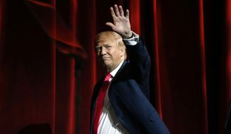 Republican presidential candidate Donald Trump speaks during the Outdoor Channel and Sportsman Channel's 16th annual Outdoor Sportsman Awards on Thursday, Jan. 21, 2016, in Las Vegas. (AP Photo/Isaac Brekken) ** FILE **