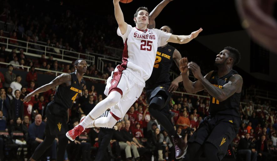 Stanford forward Rosco Allen (25) drives to the basket to make the game-winning shot in the final seconds of an NCAA college basketball game against Arizona State Saturday, Jan. 23, 2016, in Stanford, Calif. Stanford won 75-73. (AP Photo/Marcio Jose Sanchez)
