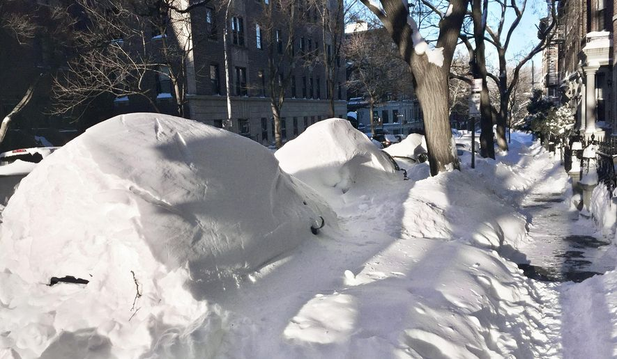 Automobiles buried under humps of snow line a street in the Park Slope neighborhood of the Brooklyn borough of New York, Sunday, Jan. 24, 2016, after a snowstorm. Mayor Bill de Blasio asked New York City residents to leave their cars where they are if they can. He doesn't want people to put the snow from their vehicles back into the streets while the city is trying to clear up from the blizzard. (AP Photo/Beth Harpaz)