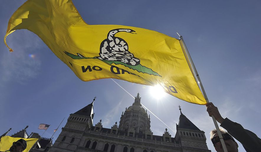 Scott Veley of Kensington, Conn. holds a Gadsden flag during a tea party protest at the Capitol in Hartford, Conn., Thursday, April 15, 2010.  (AP Photo/Jessica Hill) **FILE**